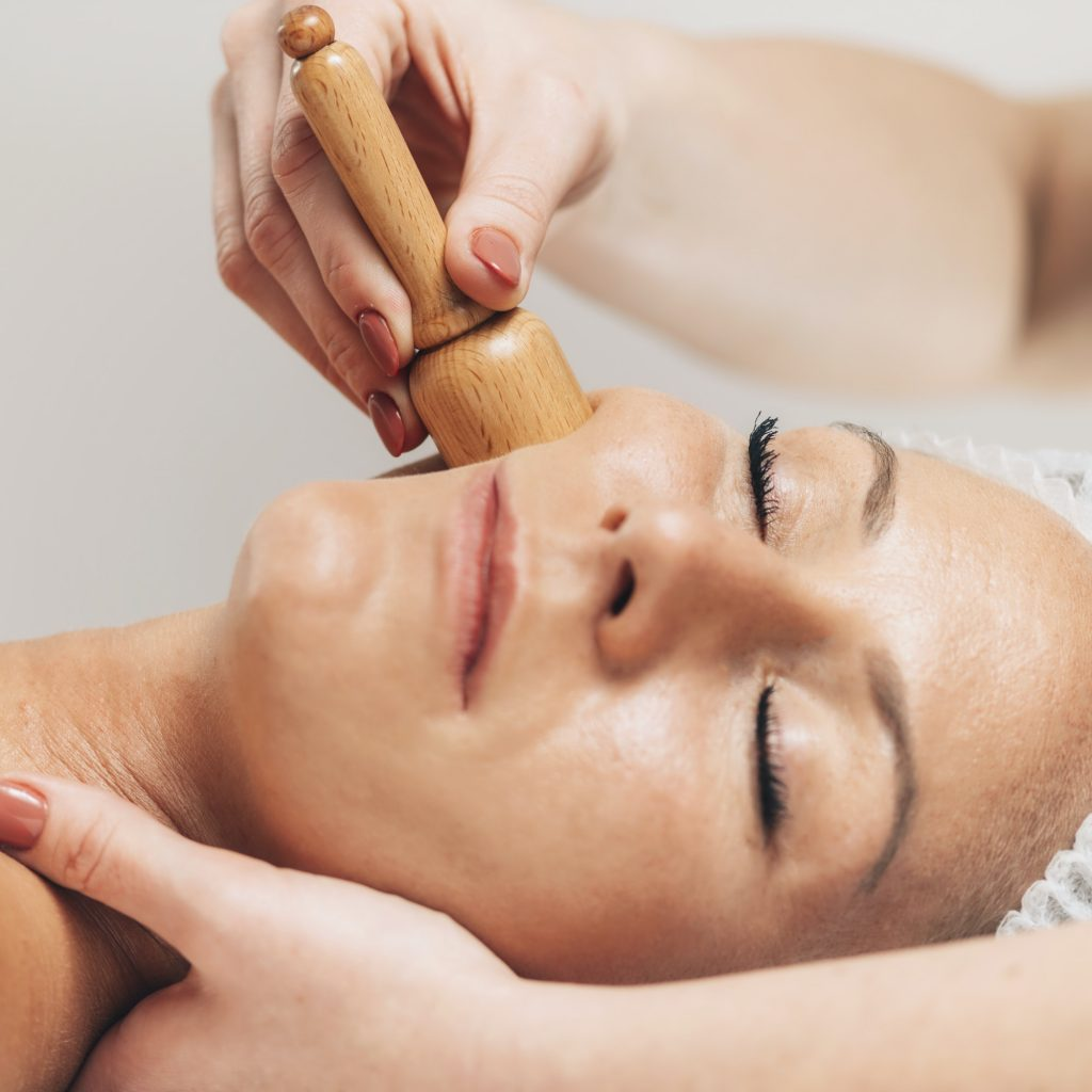 Facial Madero therapy Massage with Wooden Vacuum Massager